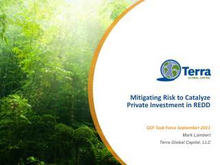 Mitigating Risk to Catalyze Private Investment in REDD GCF Task Force September 2011 Mark Lambert