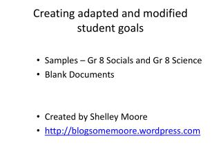 Creating adapted and modified student goals