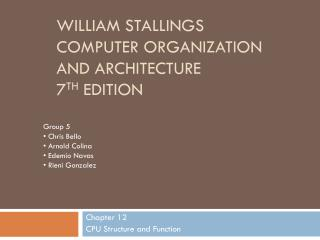 William Stallings  Computer Organization  and Architecture 7 th  Edition