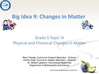 Big Idea 9: Changes in Matter