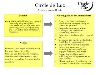 Circle de Luz Mission ,  Vision, Beliefs