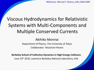 Akihiko Monnai Department of Physics, The University of Tokyo Collaborator: Tetsufumi Hirano