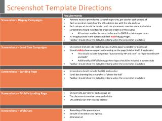 Screenshot Template Directions
