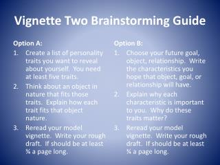 Vignette Two Brainstorming Guide
