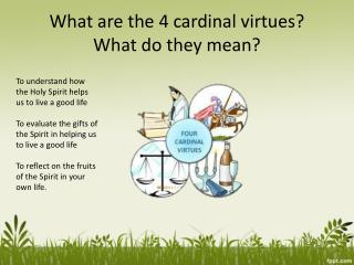 What are the 4 cardinal virtues? What do they mean?