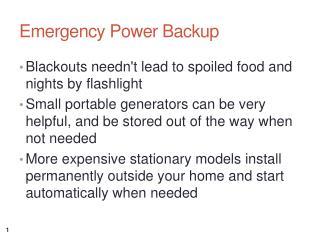 Emergency Power Backup