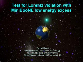 Test for Lorentz  violation with MiniBooNE low energy excess