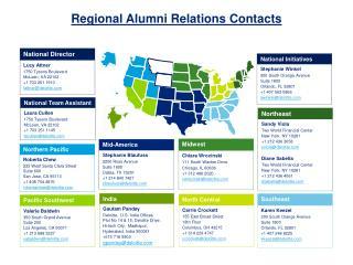 Regional Alumni Relations  Contacts
