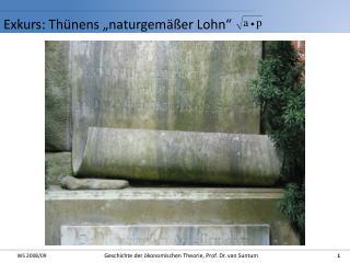 """Exkurs:  Thünens  """"naturgemäßer Lohn"""""""