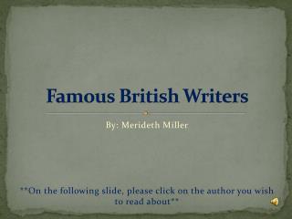 Famous British Writers