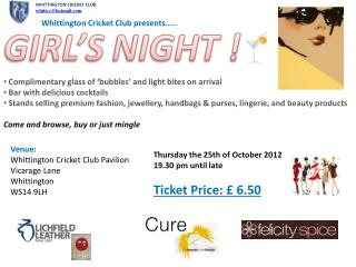Whittington Cricket Club presents.....