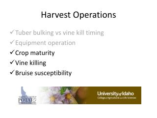 Harvest  Operations