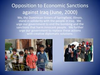 Opposition to Economic Sanctions  against Iraq (June, 2000)