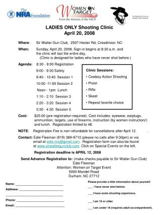LADIES ONLY Shooting Clinic April 20
