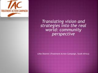 Translating vision and strategies into the real world: community perspective