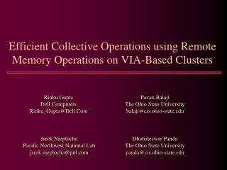 Efficient Collective Operations using Remote Memory Operations on VIA-Based Clusters