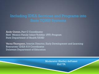 Including IDEA Services and  Programs into State TQRIS Systems  ()