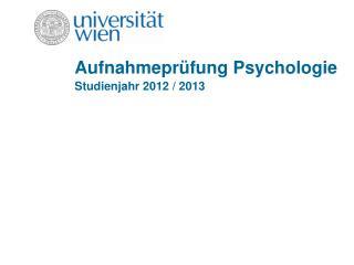 Aufnahmepr�fung Psychologie