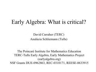 Early Algebra: What is critical?
