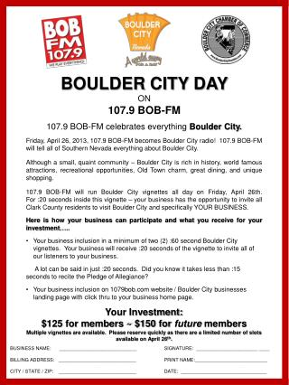107.9 BOB-FM celebrates everything  Boulder City.