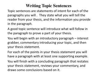Writing Topic Sentences
