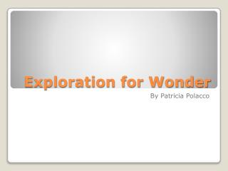 Exploration for Wonder