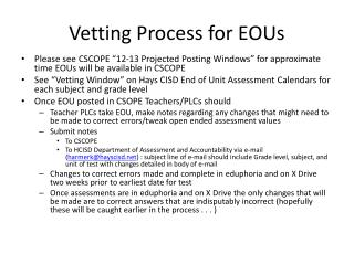 Vetting Process for EOUs