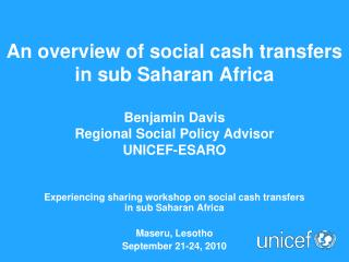 Experiencing sharing workshop on social cash transfers  in sub Saharan Africa Maseru, Lesotho