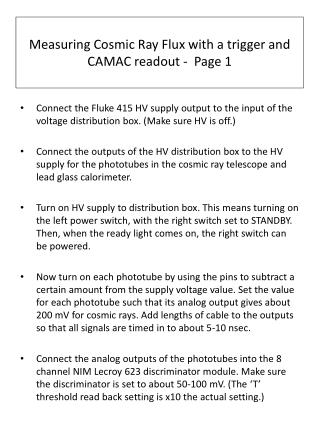 Measuring Cosmic Ray Flux with a trigger and CAMAC readout -  Page 1