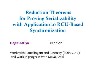 Reduction Theorems  for  Proving Serializability  with  Application to RCU-Based Synchronization