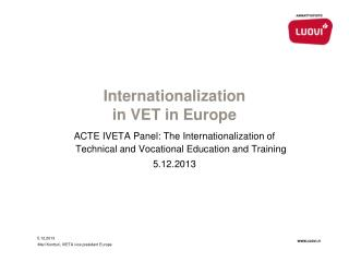 Internationalization in VET in Europe