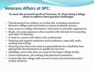 Veterans Affairs at SPC:
