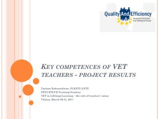 Key competences of VET teachers - project results
