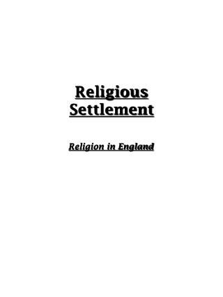 Religious Settlement