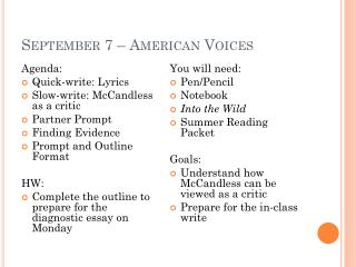 September 7 – American Voices