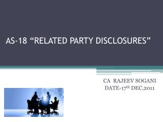 "AS-18 ""RELATED PARTY DISCLOSURES"""