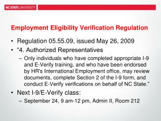 Employment Eligibility Verification Regulation
