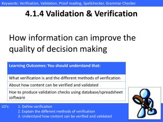 4.1.4 Validation & Verification