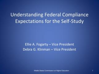 Understanding Federal Compliance Expectations for the Self-Study