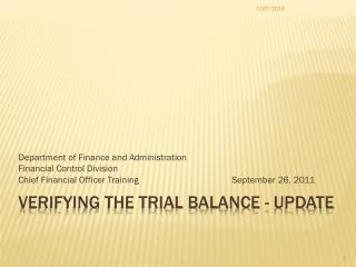 Verifying the Trial Balance - Update