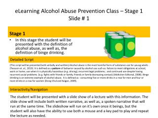 eLearning Alcohol Abuse Prevention Class – Stage 1                    Slide # 1