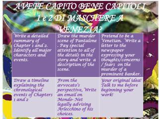 AVETE CAPITO BENE CAPITOLI 1 e 2 DI  MASCHERE A VENEZIA ?