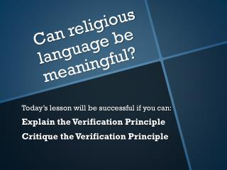 Can religious language be meaningful?