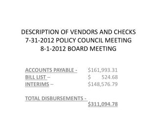 DESCRIPTION OF VENDORS AND CHECKS 7-31-2012 POLICY COUNCIL MEETING 8-1-2012 BOARD MEETING