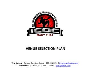 VENUE  SELECTION PLAN
