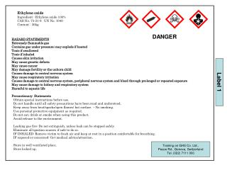 HAZARD STATEMENTS Extremely flammable gas Contains gas under pressure; may explode if heated