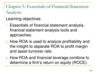 Chapter 5: Essentials of Financial Statement Analysis