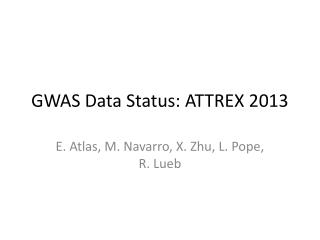 GWAS Data Status: ATTREX 2013