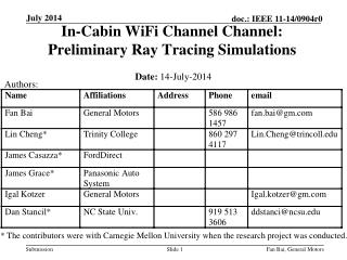 In-Cabin  WiFi  Channel Channel:  Preliminary Ray Tracing Simulations