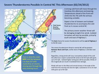 Severe Thunderstorms Possible in Central  NC This  Afternoon (02/24/2012)